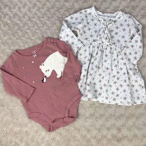 Carter's Baby Girl Bundle Floral Dress Polar Bear